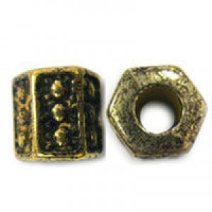 12mm Plastic Dimpled Hexagonal Large Hole Bead Plated Antique Gilt