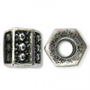 12mm Plastic Dimpled Hexagonal Large Hole Bead Plated Antique Silver