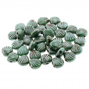 Shelly™ Shells 2-Hole Czech Bead 8mm Green Turquoise Honey Drizzle (100pc)