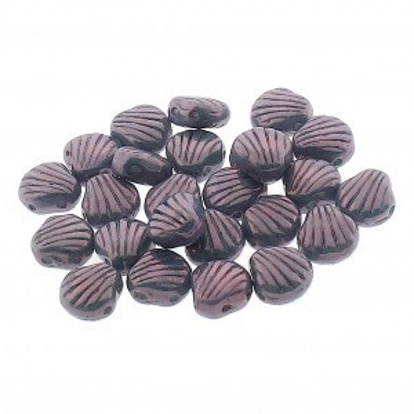 Shelly™ Shells 2-Hole Czech Bead 8mm Chalk Lumi Purple (100pc)