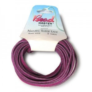 4mm Fuchsia Natural Suede Lace 5yd X 6 Cards