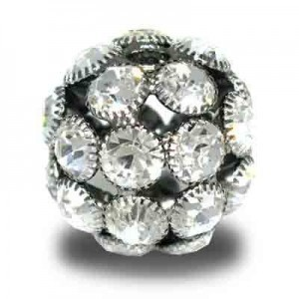 20mm Crystal on Hematite Plate Rhinestone Snowball