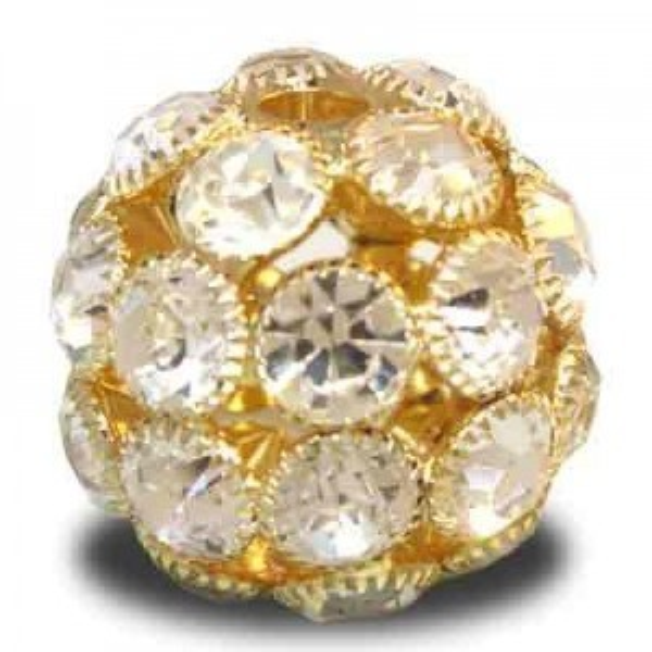 28mm Crystal on Gold Plate Rhinestone Snowball