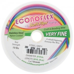 Econoflex Wire .010 Dia. 30 Ft (9m) 1x7 Strand Steel Grey