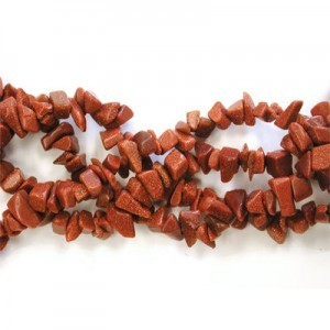 Brown Goldstone Semiprecious Chips 36 Inch Strand
