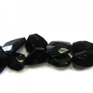 30x22mm Black Glass Faceted Squared Tear Drop 16 Inch Strand (Approx.14 Beads)