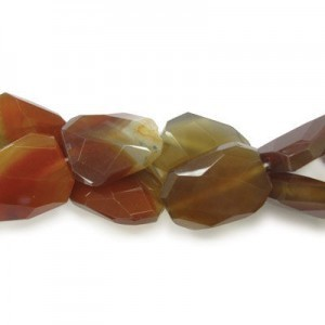 30x22mm Carnelian Faceted Squared Tear Drop 16 Inch Strand (Approx.14 Beads)
