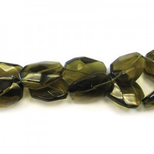 30x22mm Dark Topaz Faceted Squared Tear Drop 16 Inch Strand (Approx.14 Beads)