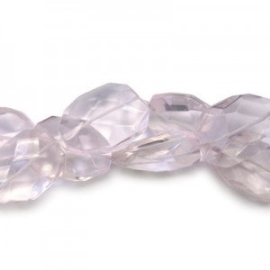 30x22mm Light Rose Faceted Squared Tear Drop 16 Inch Strand (Approx.14 Beads)