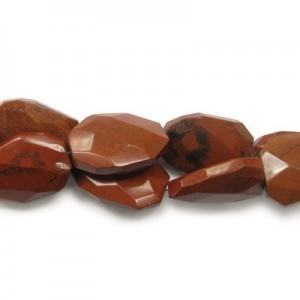 30x22mm Red Jasper Faceted Squared Tear Drop 16 Inch Strand (Approx.14 Beads)