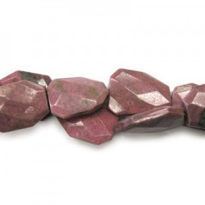30x22mm Rhodonite Faceted Squared Tear Drop 16 Inch Strand (Approx.14 Beads)