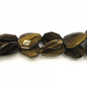 30x22mm Tiger Eye Faceted Squared Tear Drop 16 Inch Strand (Approx.14 Beads)