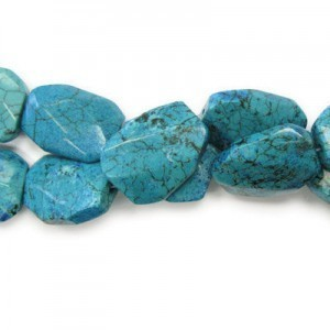 30x22mm Magnesite Turquoise Faceted Squared Tear Drop 16 Inch Strand (Approx.14 Beads)