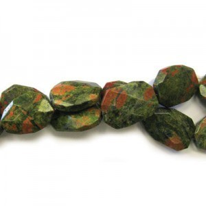 30x22mm Unakite Faceted Squared Tear Drop 16 Inch Strand (Approx.14 Beads)