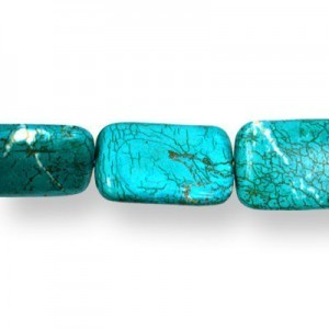 30x20mm Magnesite (Dyed/Stabilized) Turquoise Rectangle Bead 16 Inch Strand (Approx. 13 Beads)