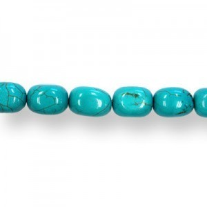 15x11mm Magnesite (Dyed/Stabilized) Turquoise Squared Oval Bead 16 Inch Strand (Approx. 26 Beads)