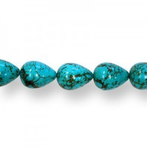 19x15mm Magnesite (Dyed/Stabilized) Turquoise Teardrop Bead 16 Inch Strand (Approx. 21 Beads)