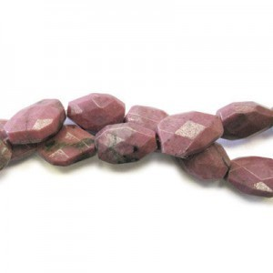20x15mm Rhodonite Faceted Nugget 16 Inch Strand (Approx.21 Beads)