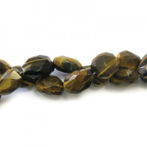 20x15mm Tiger Eye Faceted Nugget 16 Inch Strand (Approx.21 Beads)