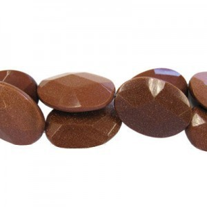 35x25mm Brown Goldstone Faceted Oval 16 Inch Strand (Approx.12 Beads)
