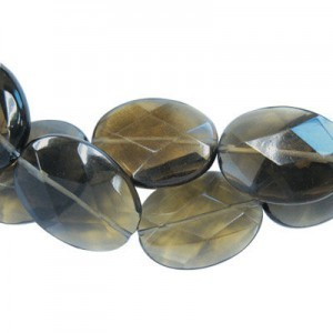 35x25mm Dark Topaz Faceted Oval 16 Inch Strand (Approx.12 Beads)
