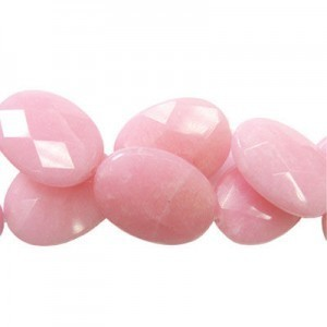35x25mm Hot Pink Jade Faceted Oval 16 Inch Strand (Approx.12 Beads)