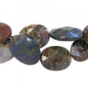 35x25mm Pietersite Faceted Oval 16 Inch Strand (Approx.12 Beads)