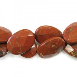 35x25mm Red Jasper Faceted Oval 16 Inch Strand (Approx.12 Beads)
