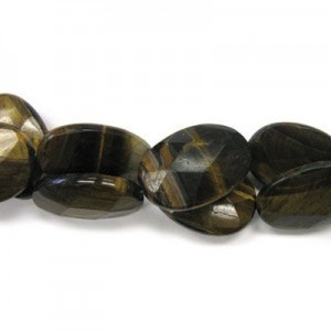 35x25mm Tiger Eye Faceted Oval 16 Inch Strand (Approx.12 Beads)