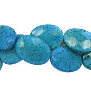 35x25mm Magnesite Turquoise Faceted Oval 16 Inch Strand (Approx.12 Beads)