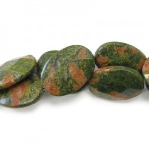 35x25mm Unakite Faceted Oval 16 Inch Strand (Approx.12 Beads)