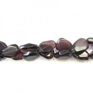 25x18mm Amethyst Faceted Flat Nugget 16 Inch Strand (Approx.16 Beads)
