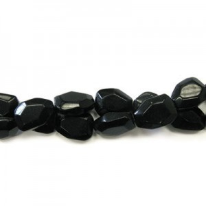 25x18mm Black Glass Faceted Flat Nugget 16 Inch Strand (Approx.16 Beads)