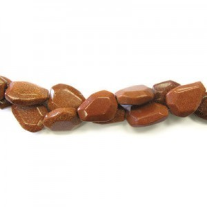 25x18mm Brown Goldstone Faceted Flat Nugget 16 Inch Strand (Approx.16 Beads)