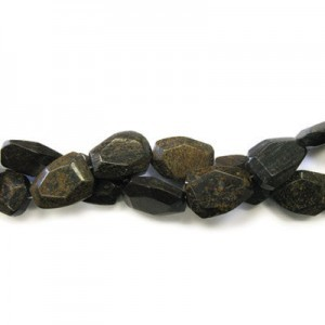 25x18mm Bronzite Faceted Flat Nugget 16 Inch Strand (Approx.16 Beads)