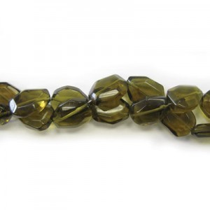 25x18mm Dark Topaz Faceted Flat Nugget 16 Inch Strand (Approx.16 Beads)