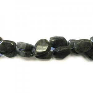 25x18mm Labradorite Faceted Flat Nugget 16 Inch Strand (Approx.16 Beads)