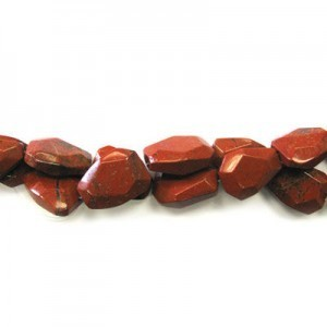 25x18mm Red Jasper Faceted Flat Nugget 16 Inch Strand (Approx.16 Beads)
