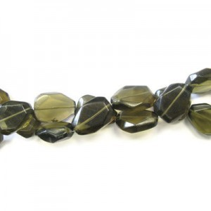 25x18mm Smoky Quartz Faceted Flat Nugget 16 Inch Strand (Approx.16 Beads)