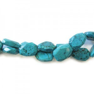 25x18mm Magnesite Turquoise Faceted Flat Nugget 16 Inch Strand (Approx.16 Beads)