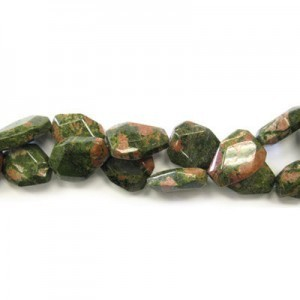 25x18mm Unakite Faceted Flat Nugget 16 Inch Strand (Approx.16 Beads)