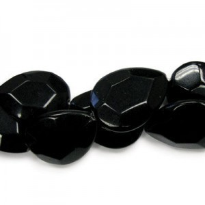 40x30mm Black Glass Faceted Tear Drop 16 Inch Strand (Approx.10 Beads)