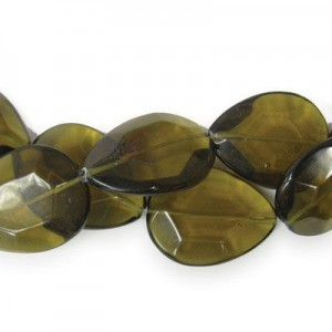 40x30mm Dark Topaz Faceted Tear Drop 16 Inch Strand (Approx.10 Beads)