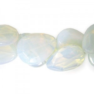 40x30mm White Opal Faceted Tear Drop 16 Inch Strand (Approx.10 Beads)