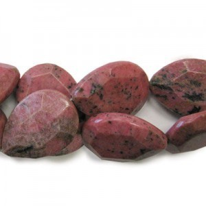 40x30mm Rhodonite Faceted Tear Drop 16 Inch Strand (Approx.10 Beads)