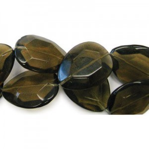 40x30mm Smoky Quartz Faceted Tear Drop 16 Inch Strand (Approx.10 Beads)