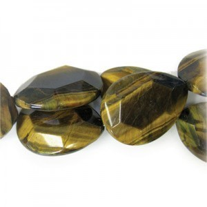 40x30mm Tiger Eye Faceted Tear Drop 16 Inch Strand (Approx.10 Beads)