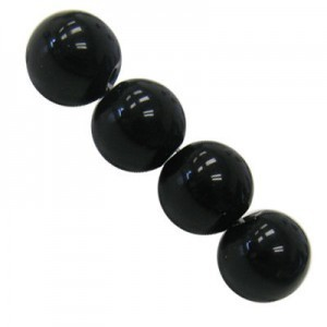 4mm Imitation Black Onyx Smooth Round Bead 16 Inch Strand (Approx. 100 Beads)