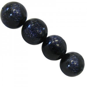 10mm Blue Gold Stone Smooth Round Bead 16 Inch Strand (Approx. 40 Beads)