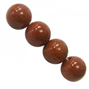 8mm Brown Goldstone Smooth Round Bead 16 Inch Strand (Approx. 50 Beads)